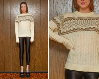 Vintage 70s 80s Steep Slopes Ivory Tan Crew Neck Lightweight Fall Winter Graphic Striped Long Sleeve Pullover Ski Jumper Sweater fits S M L