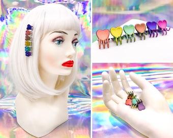 Vintage 90s Y2K Rainbow Iridescent Heart Shape Love Mini Claw Plastic Rave Kawaii Pink Purple Blue Teal Yellow Orange Hair Clips Set of 6