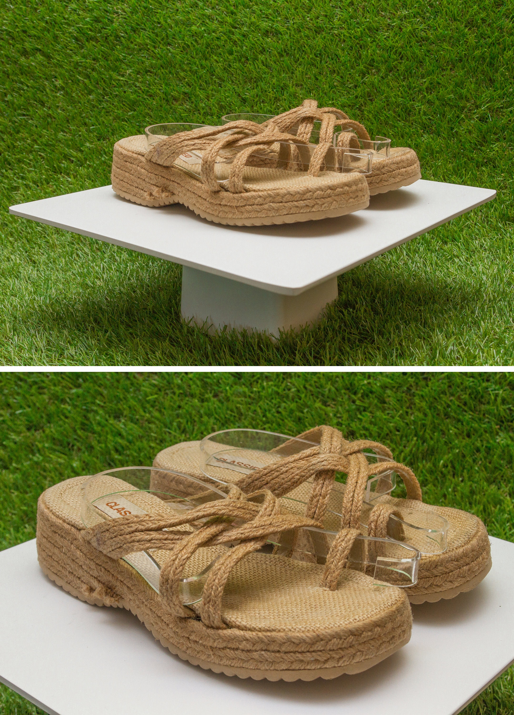 Vintage 90s Y2K Classified Woven Raffia Grass Braided Strappy Tan Light Brown Summer Thick Wedge Slip On Platform Mule Sandal US 5  5.5