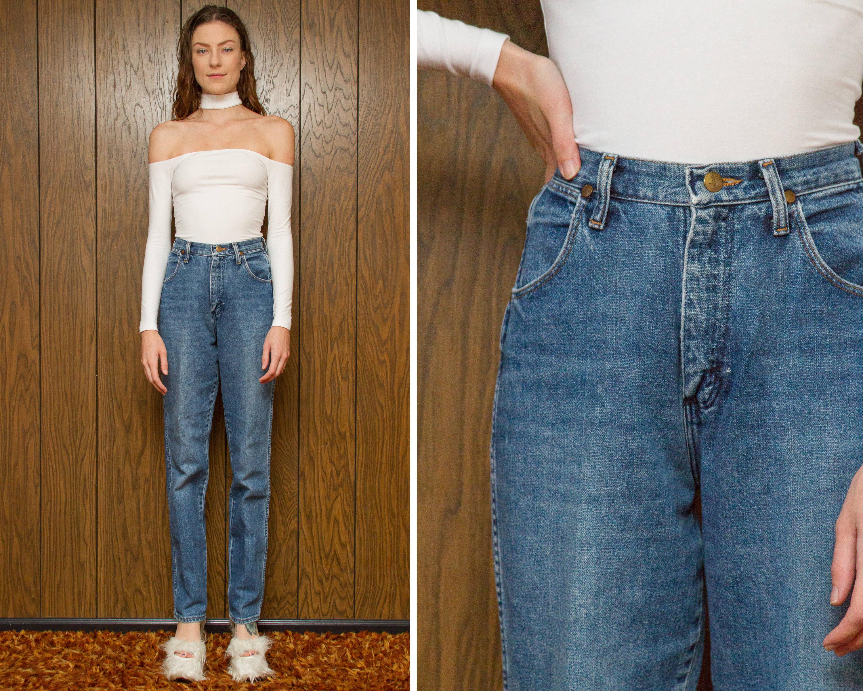 ff85f5786bf1 Vintage 70s 80s Wrangler Medium Wash Blue Distressed Denim Straight Leg  High Waist Made in USA Jean Zip Fly Long Length 24 Waist 34 Inseam