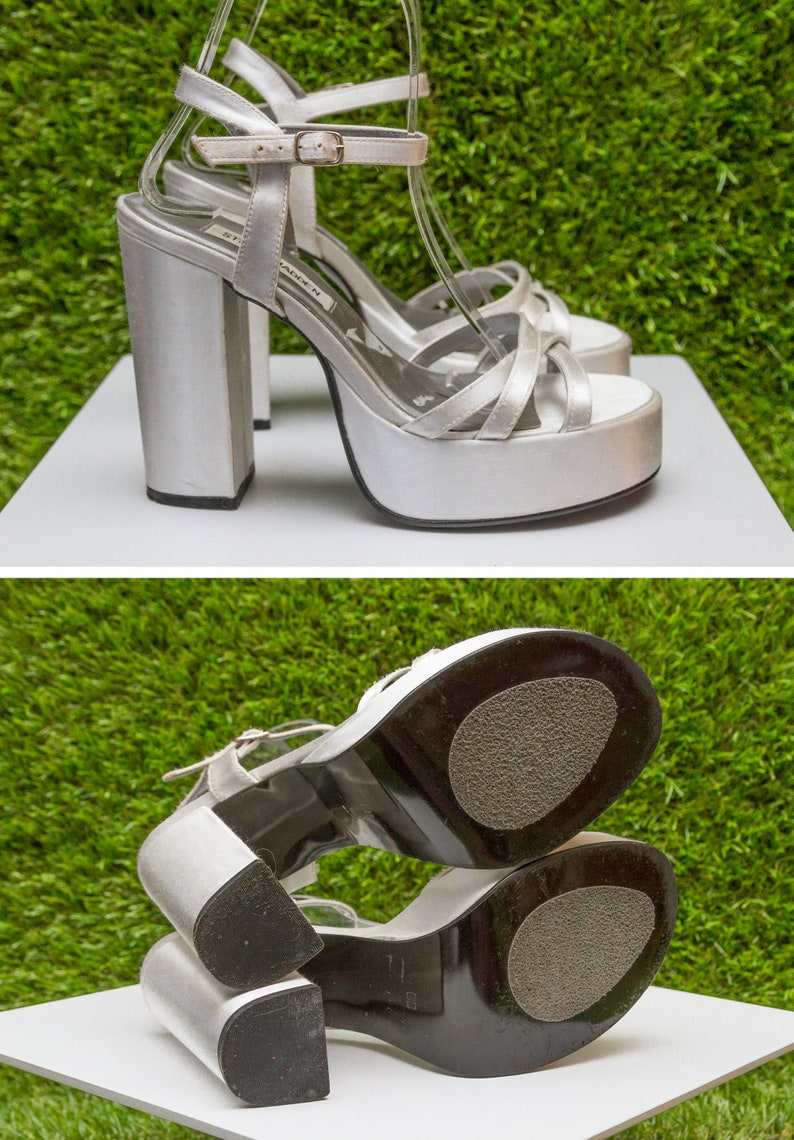 c928a07f6e5 Vintage 90s Steve Madden Shiny Satin Metallic Silver Gray