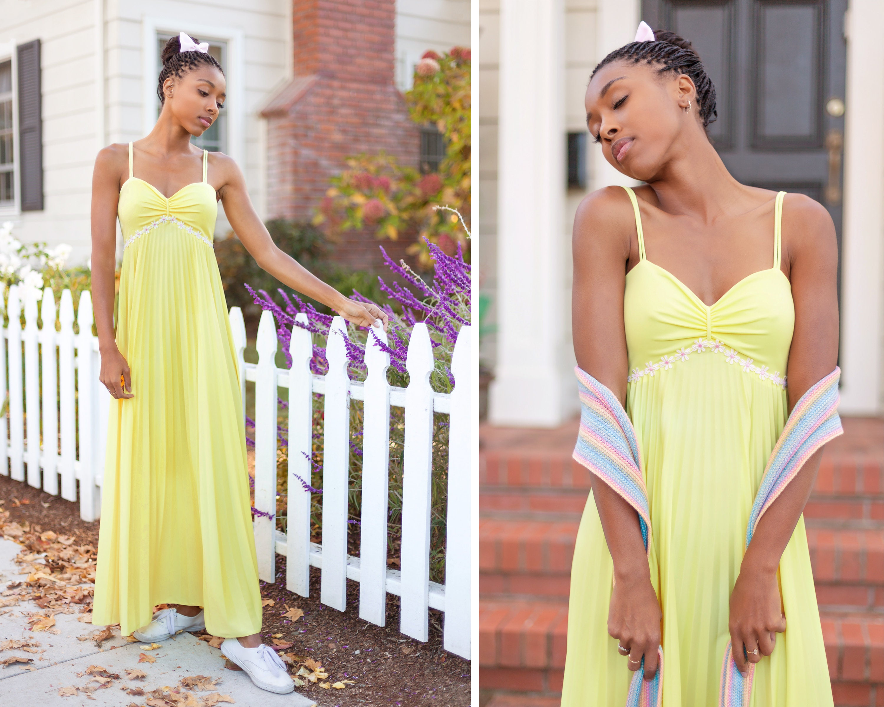 d6c477751c4f Vintage 70s Daisy Flower Trim Yellow Pastel Pink Empire Waist Pleated  Sweetheart Neck Sleeveless Strappy Long Prom Dress Formal Gown XS S M