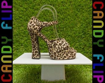 Vintage 90s BNIB NEW Its Martini Time Kitty Velboa Mega Black Velvet Faux Fur Furry Platform Mary Jane Leopard Cheetah High Heel Cat Shoes 6