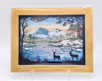 Vintage Snow Mountain Forest Deer Buck Landscape Foil Etching Art Print Copper Gold Black Double Mat Ready to Frame in 8x10 Image 7.5 x 5.5