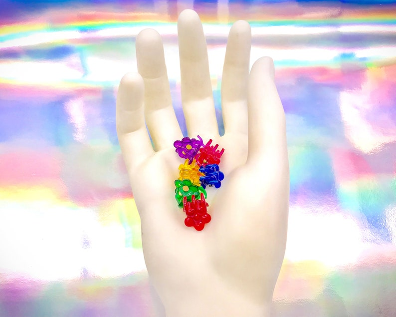 Vintage 90s Y2K Clear Rainbow Daisy Bubble Flower Mini Claw Plastic Kawaii Barrettes Red Yellow Green Blue Purple Pink Hair Clips Set of 6