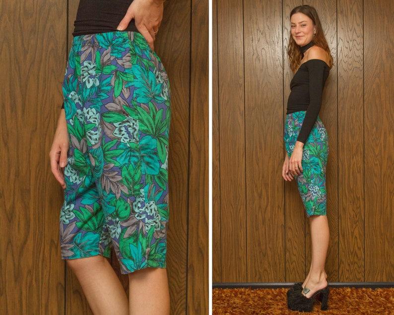 Vintage 80s 90s Teal Blue Purple Tropical Floral Palm Leaf Pocket Kawaii Vapor Vaporwave Elastic Stretch Waist Cotton Knee Length Shorts S M
