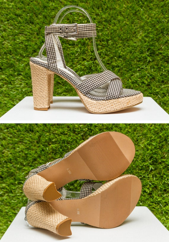 bb07ff970b ... Heel Thick Checker Shoe Vintage Western Burlap Mudd Strap Country White  Tan Strap Platform Gingham 90s