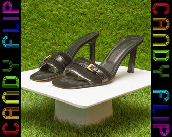Vintage 90s Ralph Lauren Black Suede Made in Italy Leather Classic High Kitten Heel Gold Buckle Detail Slip On Mule Kitty Sandal Heels 8.5