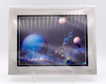 Vintage Solar Sci Fi Fantasy Universe Space Foil Etching Art Print Shiny Purple Black Silver Double Mat Ready to Frame 8x10 Image 7.5 x 5.5