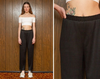 Vintage 90s Y2K Shiny Black Accordion Pleat Pleated Vertical Textured Ribbed Elastic High Waist Lightweight Wide Leg Dress Lounge Pants S M