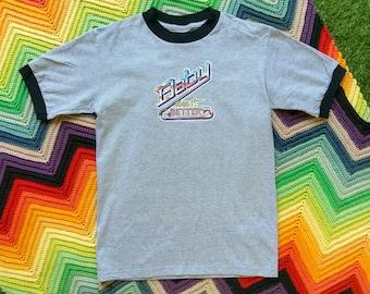 Vintage 90s Unisex Cute Gray Black Glitter Baby Does It Better Ringer Crewneck Glitter Heat Transfer Thick Cotton Short Sleeve T-Shirt XS S