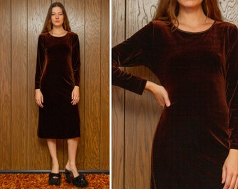 Vintage 90s Y2K Carole Little Chocolate Brown Shiny Poly Spandex Velvet Long Bracelet Sleeve Below Knee Mid Calf A Line Holiday Dress S M