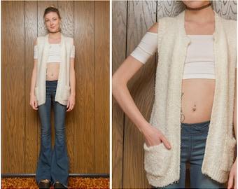 Vintage 80s 90s Partners Cream Ivory Off White Soft Chunky Lightweight Snow Granny Grandma Sweater Vest Cardigan Pocket Slouch Jumper S M L