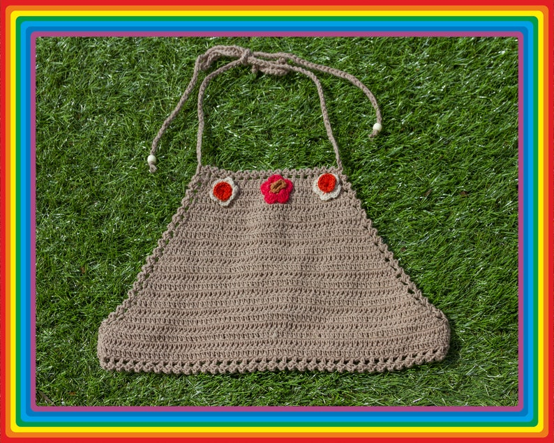 Vintage Deadstock 90s Light Brown Tan Orange Red Beige Festival Crochet Sheer Mesh Beaded 3-D Flower Cotton Crop Halter Top One Size S M L