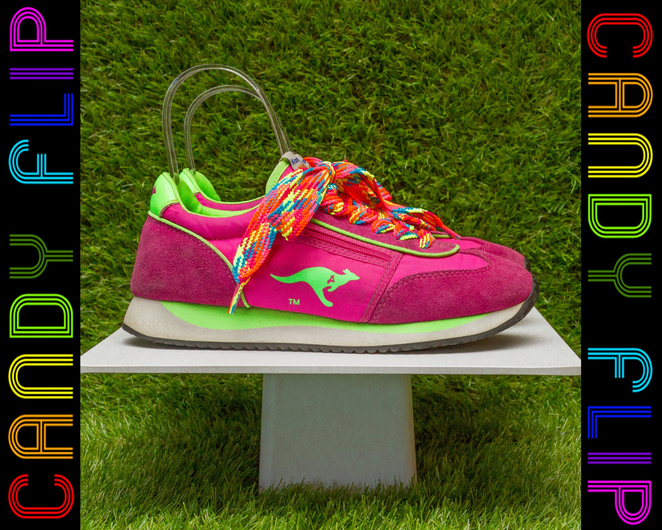 60bac136a2d2 Vintage 80s 90s Neon Rainbow Fat Laces Pink Lime Green Yellow KangaROOS  Sneakers Zippered Pouch Suede Nylon Tennis Running Trainer Shoes 7.5