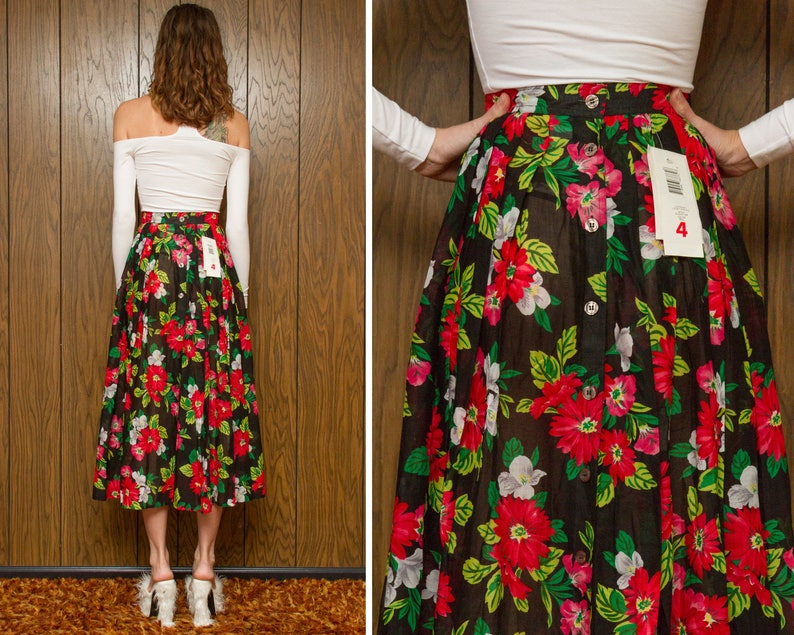 Vintage 90s Lizsport Liz Claiborne Black Red White Flower Daisy Rose Floral Print Sheer Button Front Back Pleated Skirt Long A Line XS S 2 4