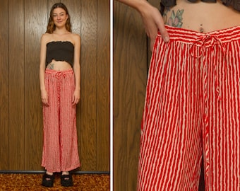 Vintage 90s Red White Striped Lightweight Viscose Soft Wide Leg Elastic Stretch High Waist Drawstring Lounge Coverup Trouser Long Pants S M