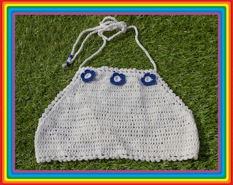 Vintage Deadstock 90s White Dark Royal Blue Summer Festival Crochet Sheer Mesh Beaded 3-D Flower Cotton Crop Halter Top One Size S M L
