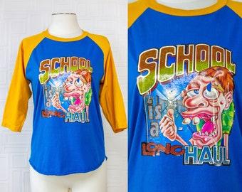 Damaged Aqua Blue Yellow Gold Color Block Vintage Roach School Is A Long Haul Iron On Heat Transfer Baseball Crew Raglan Sleeve T-Shirt S M