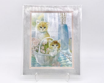 Vintage Kitten Twin Basket Pastel Flowers Foil Etching Art Print Silver Metallic Pink Silk Double Mat Ready to Frame in 8x10 Image 7.5 x 5.5
