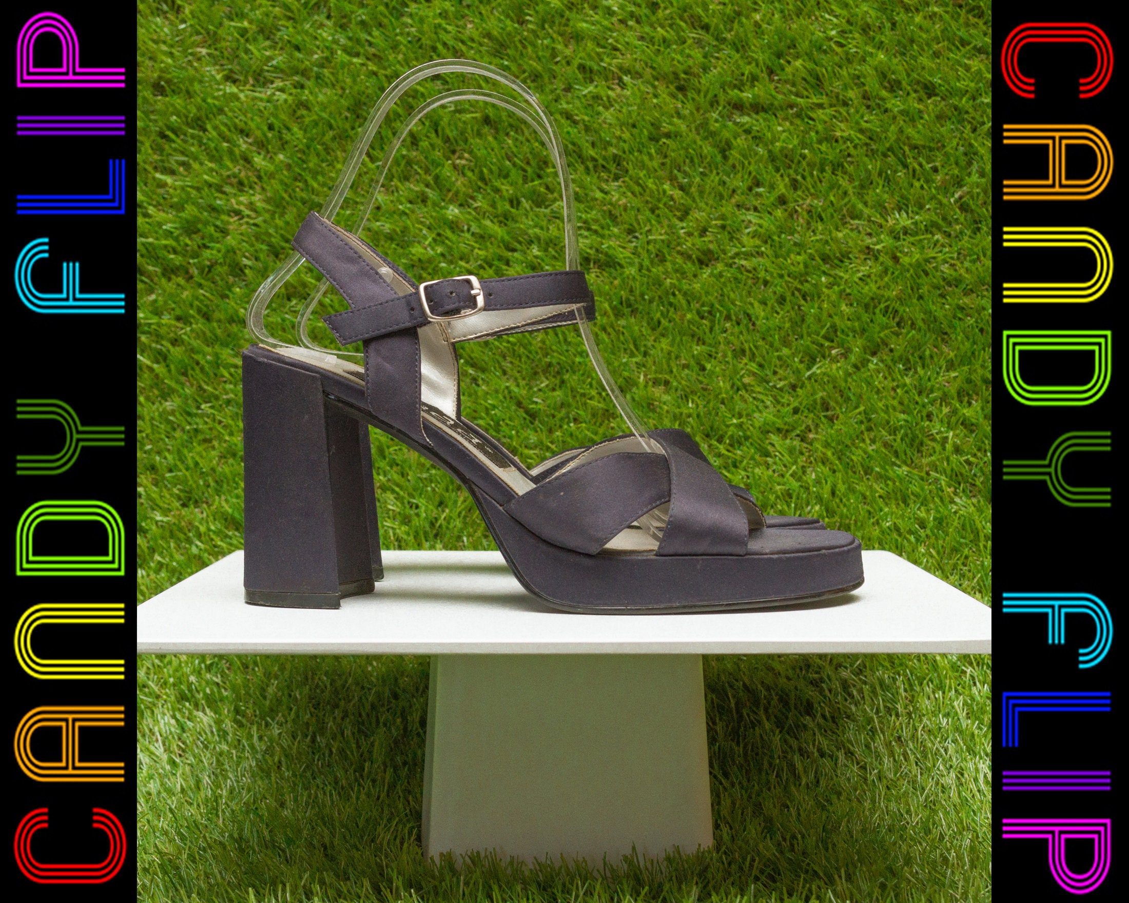 7d8d34094202 Vintage 90s Mudd Navy BLue Shiny Satin Black Platform Chunky Thick Cuban  Heel T-Strap Sandal Silver Buckle Strappy Open Toe Heels Shoe 7