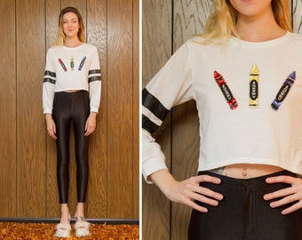 Vintage Y2K School Rugby Athletic White Red Blue Yellow Primary Color Crayon Black Beaded Sequined Metallic Long Sleeve T-Shirt Crop Top S M