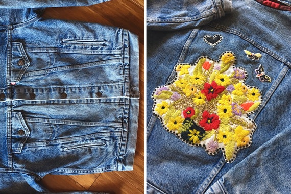 Distressed Blue 80s Coat Butterfly Levi's Buffalo Jean Denim Flowers Flower Back Lined S Jacket M Heart Plaid Patch Levis 70s Floral Vintage ZwH65