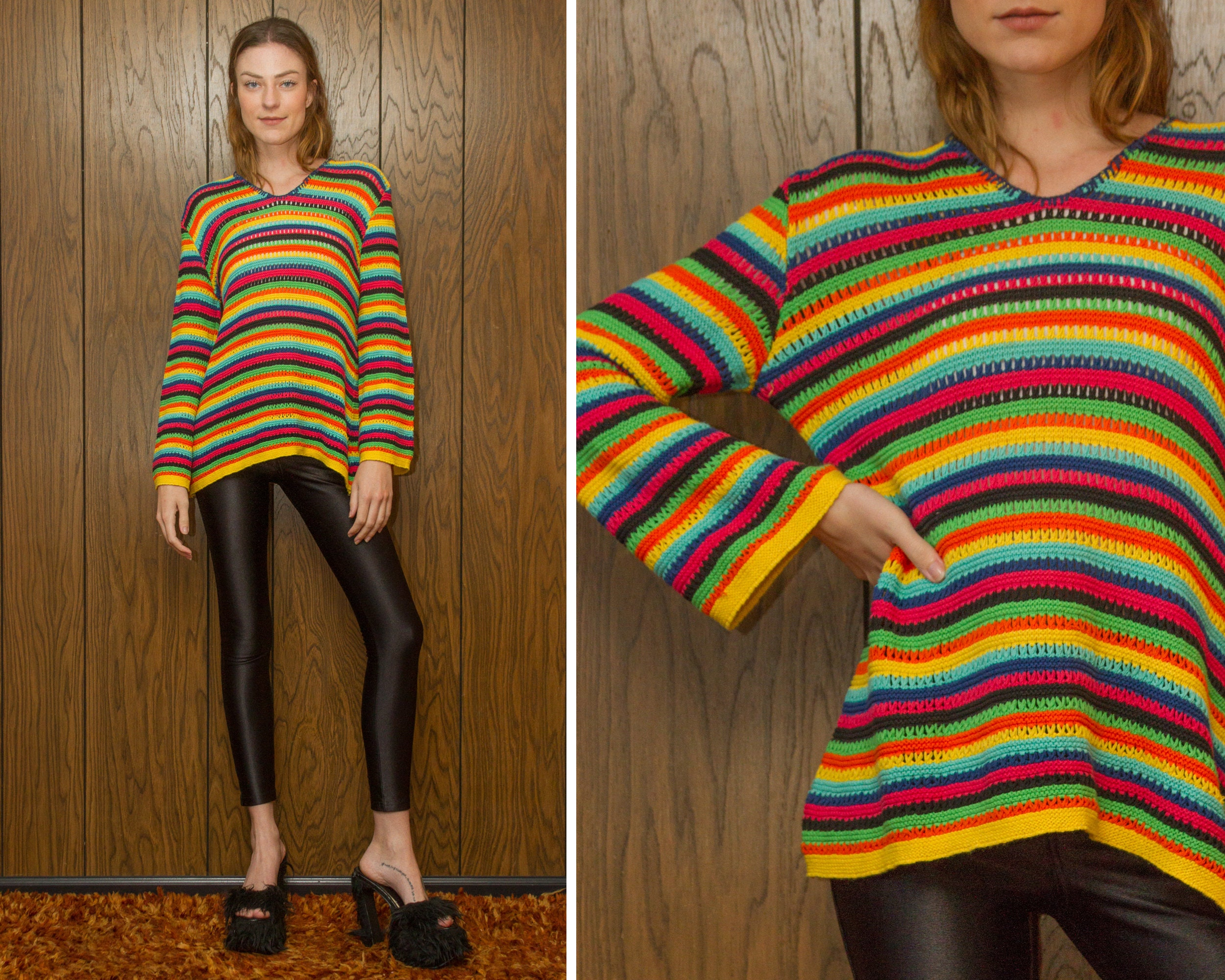 774b183c5 Vintage 90s Fiesta Neon Striped Cotton Loose Knit Textured Graphic ...