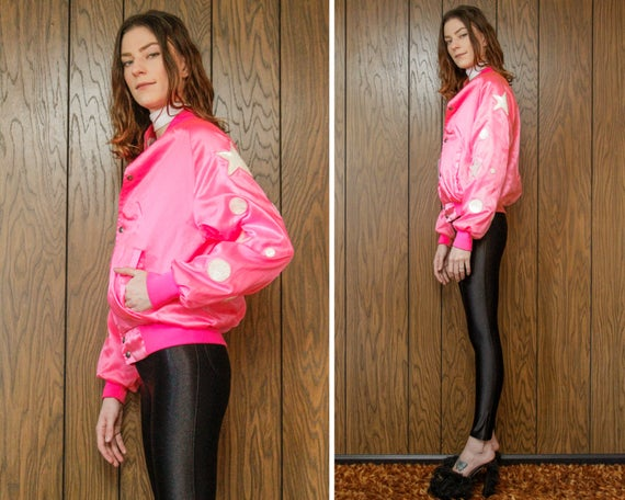 Neon Nylon Vintage Sequin 90s Dance Baseball 80s M Arm Star Sequined S Dot Circle Patch Jacket Hot Pink L Bright Glow Shiny White Applique xw00ErqAf
