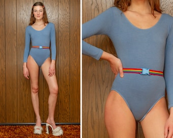 Vintage 90s RARE Light Blue Rainbow Elastic Belted Striped LGBTQ Pride Stretch Cotton Lycra Lined Long Sleeve Scoop Leotard Bodysuit S M L