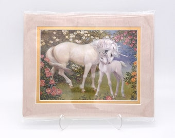 Vintage Unicorn Pair Mother Child Flowers Fantasy Foil Etching Art Print Shiny Pink Gold Double Mat Ready to Frame in 8x10 Image 7.5 x 5.5