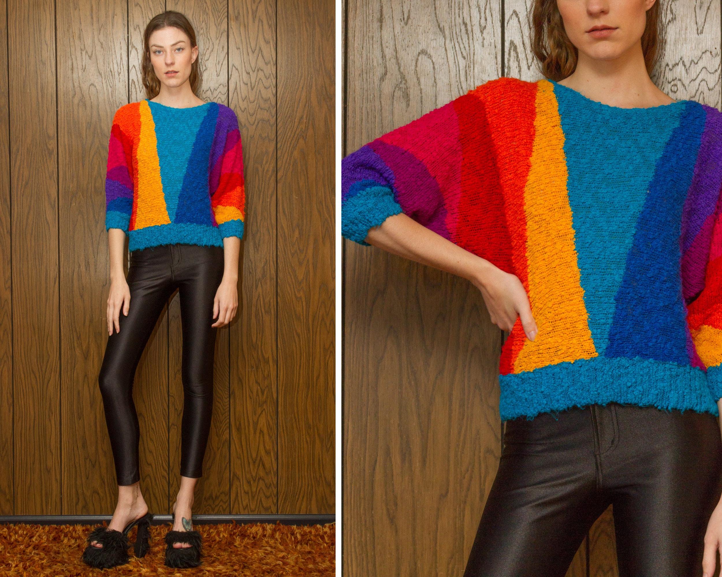 cba53aec151405 Vintage 80s Gitano Knit Textured Graphic Triangle Rainbow Striped Multi  Color Boatneck Lightweight Drop Shoulder Half Dolman Sleeve Sweater