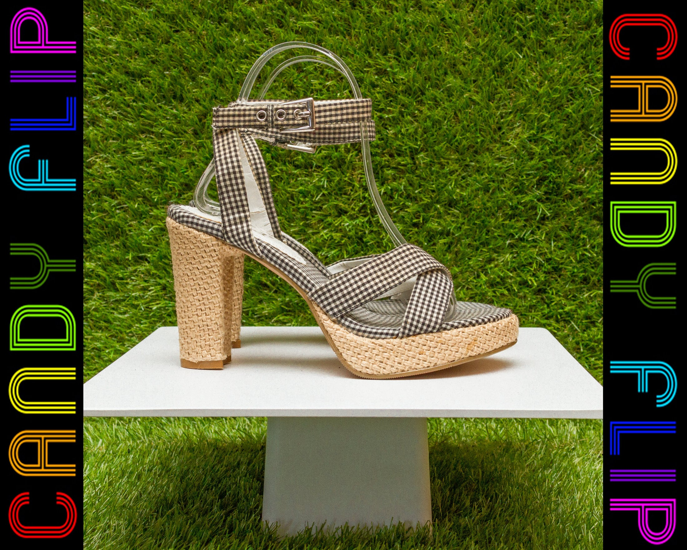 8f9bfd3ea936 Vintage 90s Mudd Black White Tan Burlap Country Western Picinic Gingham  Checker Platform Strap Chunky Thick Heel T-Strap Sandal Shoe 6.5