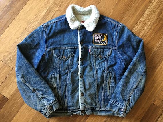Jean 42 Lined Embroidered Patch 60s L Back Star Hand Sherpa Denim M Night Distressed 70s Mystic Jacket Vintage Levi's Coat Velvet Tiger aqvgtxR