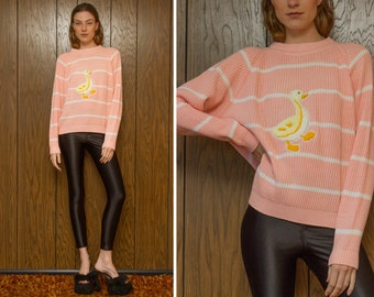Vintage 90s White Pink Pastel Striped Yellow Baby Duck Duckling Chenille 3-D Embroidered Patch Long Sleeve Raglan Crewneck Girl Sweater M L
