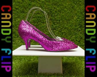 Vintage 80s 90s Mint NEW Rare Glitter Shiny Metallic Purple Black High Kitten Skinny Stiletto Heel Closed Toe Women's Pump Shoe 8.5 / 9 B