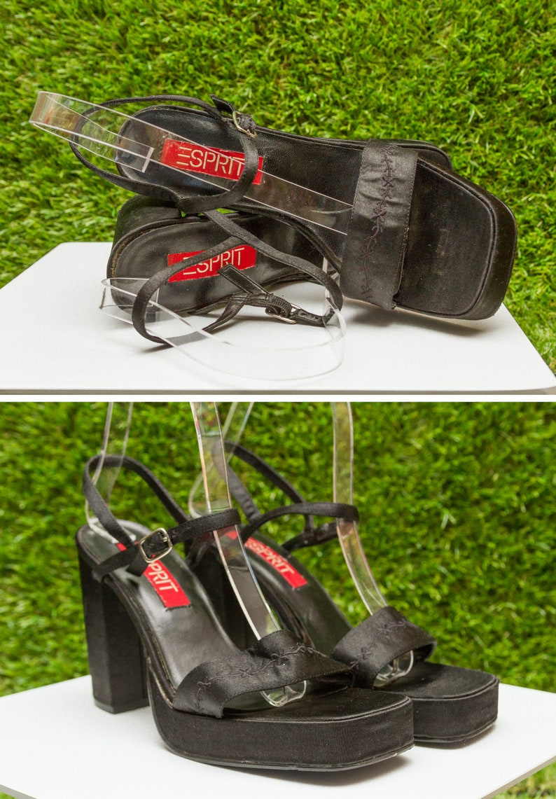 6fe2ae3767b Vintage 90s Esprit Black Shiny Satin Platform Embroidered