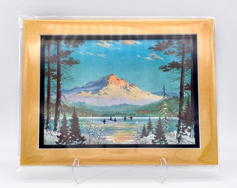Vintage Snow Mountain Forest Northwest Landscape Foil Etching Art Print Copper Gold Black Double Mat Ready to Frame in 8x10 Image 7.5 x 5.5