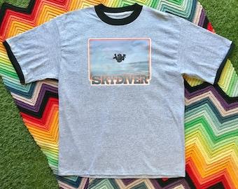 Vintage 90s Unisex Gray Black Orange Skydiver Ringer Crewneck Blue Orange Heat Transfer Graphic Novelty Cotton Short Sleeve T-Shirt L XL