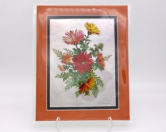 Vintage Red Orange Yellow Daisy Wild Flowers Foil Etching Damaged Art Print Fabric Black Double Mat Ready to Frame in 8x10 Image 7.5 x 5.5