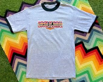 Vintage 90s Gray Black Rock N Roll Capitol Cleveland Ringer Crewneck Glitter Heat Transfer Graphic Novelty Cotton Short Sleeve T-Shirt M L