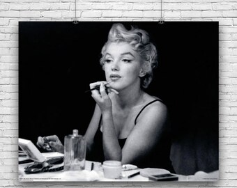 ebfd1cfe Marilyn Monroe, Elegant Photograph, Applying Make-Up in Front of Mirror,  Photography Poster