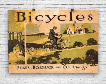 "Bicycle, Sears Roebuck & Co, Vintage Advertising, Art Print Poster - 12""x18"""
