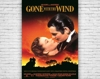 """Gone with the wind, 1939 American epic-historical-romance film, Movie Print Poster - 12""""x18"""""""