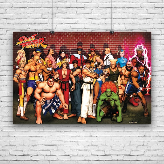 Street Fighter Characters Ken Ryu Retsu Guile Blanka And More Art Poster 24 X36