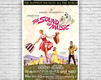 "The Sound of Music, Julie Andrews & Christopher Plummer, 1965 American Musical Drama Film, Vintage Movie Print Poster - 12""x18"""