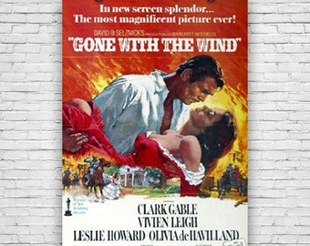 """Gone With The Wind, Clark Gable, Vivien Leigh, Classic Historical Romance Movie, 1967 Re-release Print Poster 24""""x36"""""""