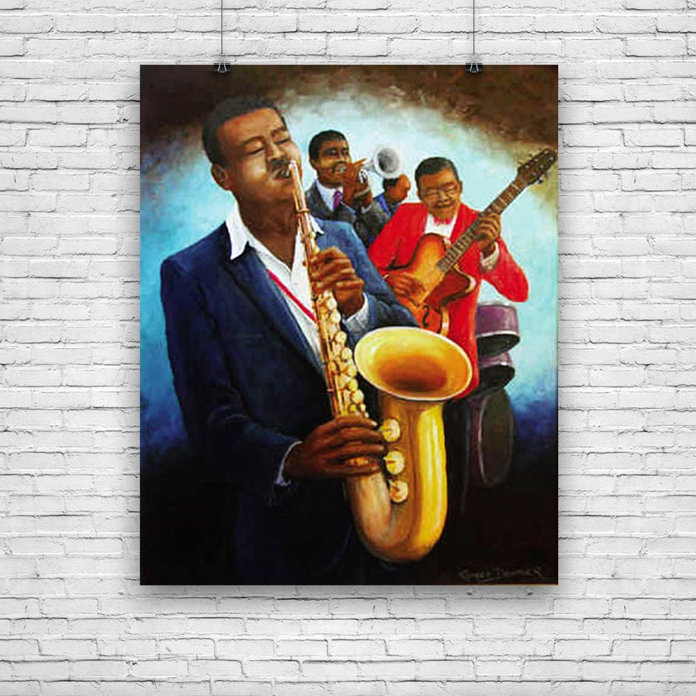 African Bands: The Musicians Jazz Musicians African American Art By Romeo