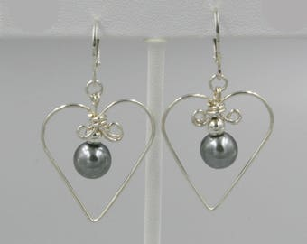 "Sterling Silver Wire Heart and Pearl Leverback Earrings, Gray Swarovski Pearls, Wire Wrapped Earrings, 1.5"" Dangle"