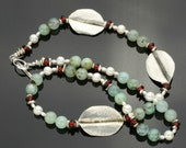 Peruvian Opal and Silver and Pearl Necklace with Czech Glass Beads, Hand Hammered Formfold Leaf in a Corsage Asymmetric Design, Toggle Clasp